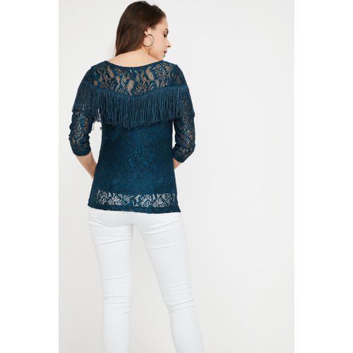 CODE Lace Overlay Fringe Detailed Top