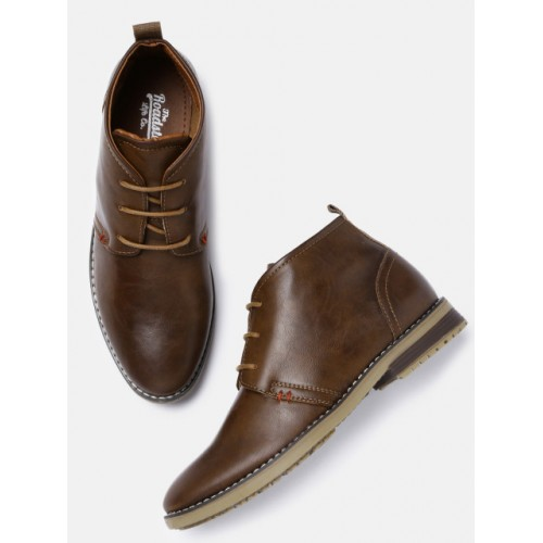 Roadster Men Tan Brown Synthetic Mid-Top Boots