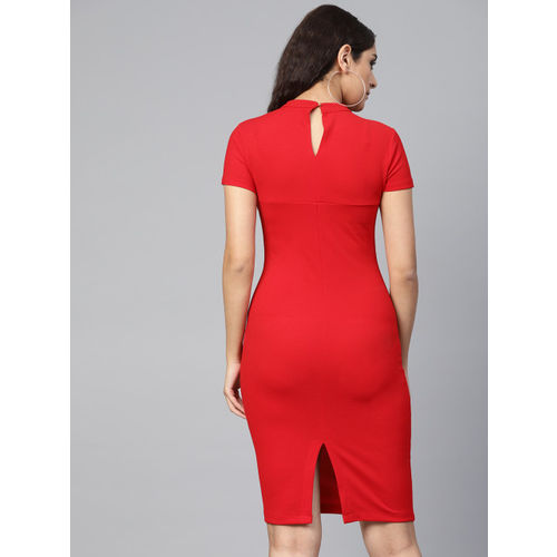 Athena Women Red Solid Bodycon Dress
