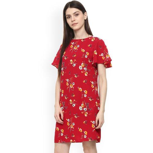 Allen Solly Woman Women Red Floral Print A-Line Dress