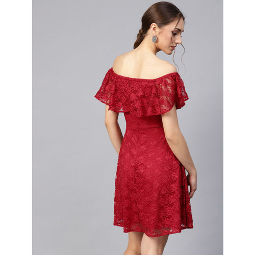 STREET 9 Women Red Lace Layered Fit & Flare Dress