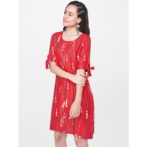 Global Desi Women Red Printed A-Line Dress