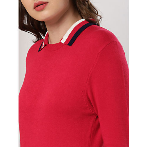 her by invictus Women Red Solid Sweater Dress