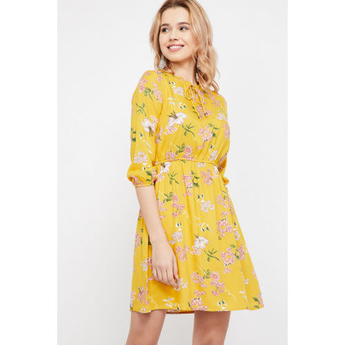 2c8919eb Buy Bossini Women Yellow Printed Fit and Flare Dress online ...
