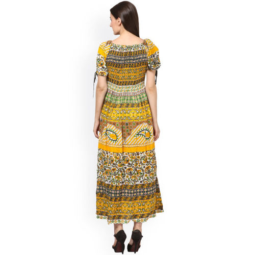 Saadgi Women Yellow Printed Maxi Dress