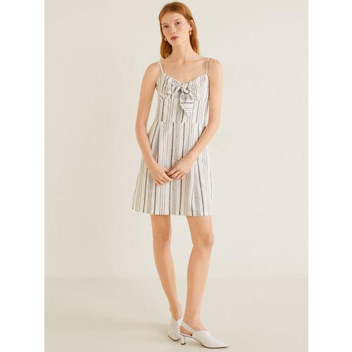 MANGO Women White & Navy Blue Striped A-Line Dress