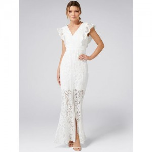 Forever New Women White Solid Maxi Dress
