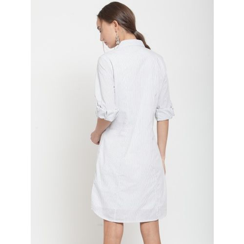 Latin Quarters Women White & Grey Striped Roll-Up Sleeves Shirt Dress