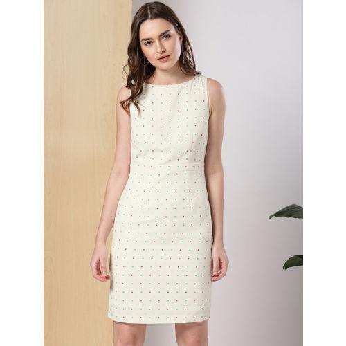 her by invictus Women White Printed Sheath Dress