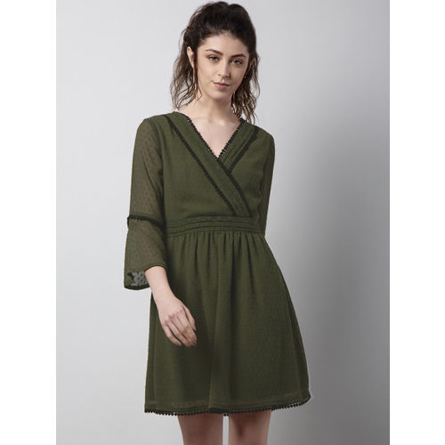 FabAlley Women Green Self Design Fit and Flare Dress