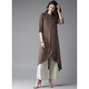 Moda Rapido Brown & Golden Printed A-Line Kurta