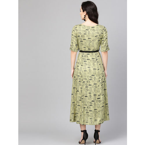 Varanga Women Green & Black Printed Empire Dress