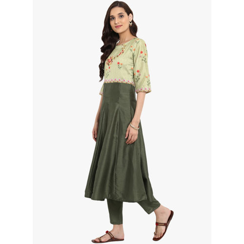 ZIYAA Green Digital Print Anarkali Kurta