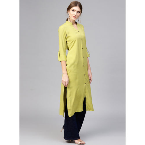 Buy Libas Women Solid Straight Kurta(Green) online | Looksgud.in