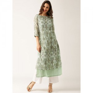 all about you Green Printed Straight Layered Kurta