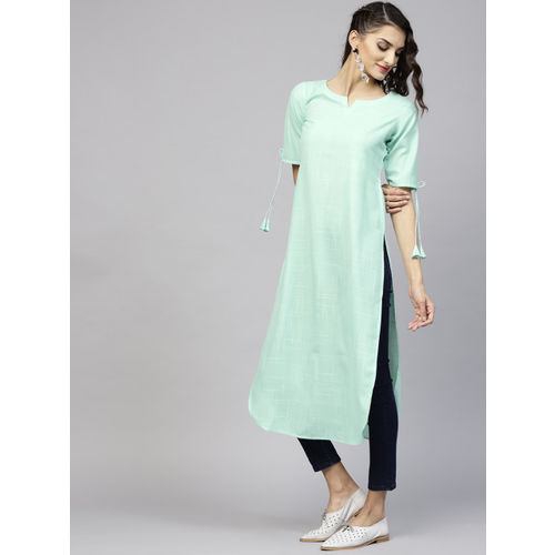 Libas Women Green Solid Straight Kurta