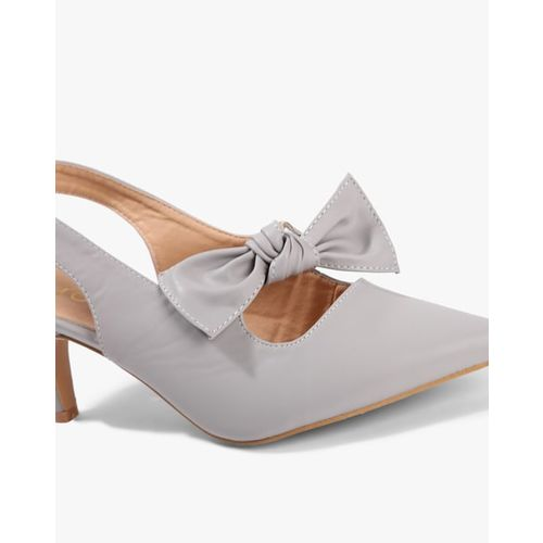 AJIO Pointed-Toe Stilettos with Bow