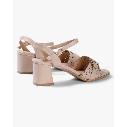 AJIO Lasercut Chunky Heeled Ankle-Strap Sandals