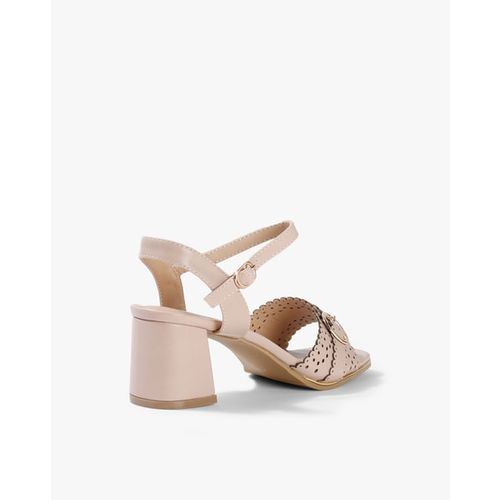 AJIO Lasercut Chunky Heeled Ankle-Strap Sandals