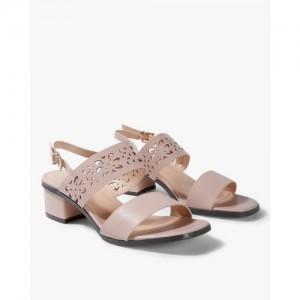 AJIO Laser-Cut Chunky Heeled Sandals