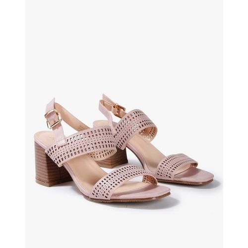 AJIO Laser-Cut Chunky-Heeled Sandals with Buckle Closure
