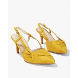 AJIO Pointed-Toe Slingback Heeled Sandals