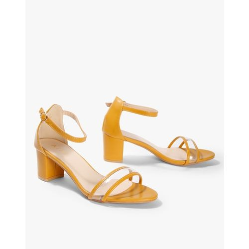 AJIO Strappy Chunky-Heeled Sandals with Ankle Strap