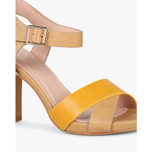 AJIO Colourblock Chunky Heels with Ankle Strap