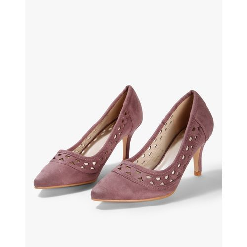 AJIO Pointed-Toe Suede Pumps with Cutouts