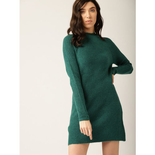 23ba09d0e60 Buy MANGO Women Green Ribbed Mini Sweater Dress online