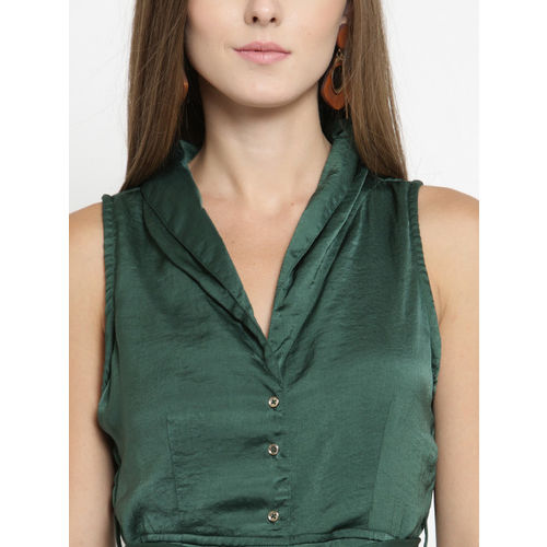 Latin Quarters Women Green Solid Fit and Flare Dress