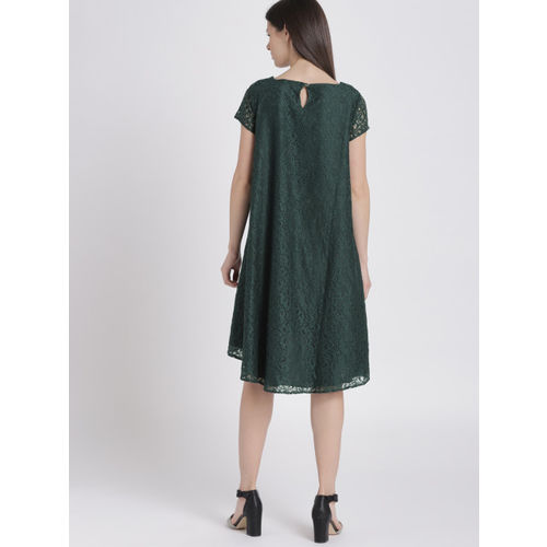 Chemistry Women Green Self Design A-Line Dress
