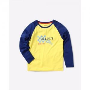 AJIO Colourblock Crew-Neck T-shirt with Raglan Sleeves