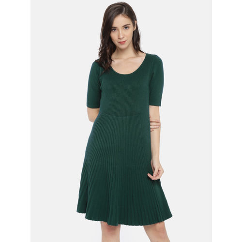 CODE by Lifestyle Women Green Self Striped A-Line Dress