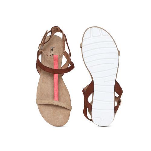 Inc 5 Women Beige Colourblocked Open Toe Flats