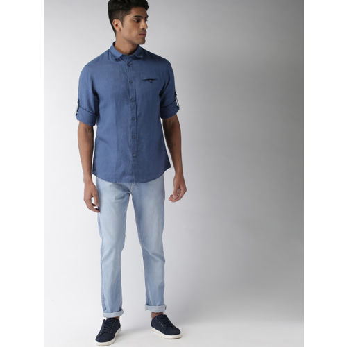 Celio Men Blue Regular Fit Solid Casual Shirt