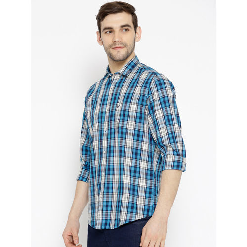 Blackberrys Men Blue & White Slim Fit Checked Casual Shirt