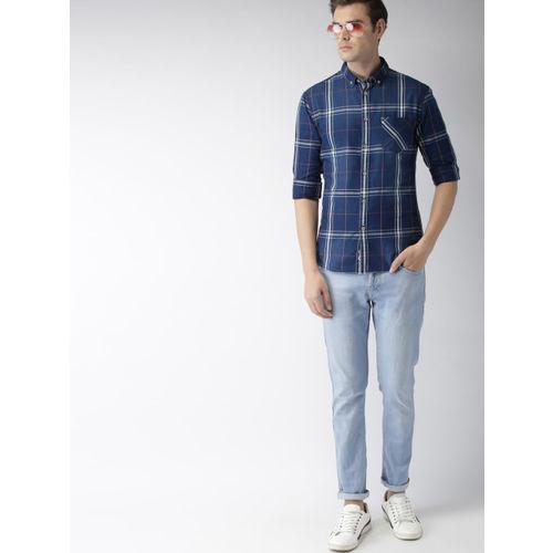 Celio Men Navy Blue & White Slim Fit Checked Casual Shirt