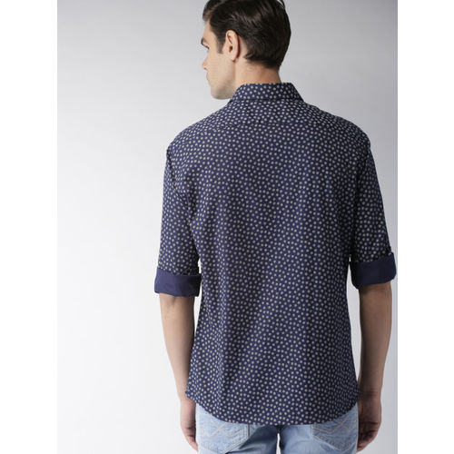Celio Men Navy Blue Regular Fit Printed Casual Shirt