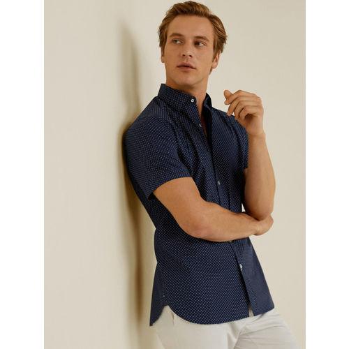MANGO MAN Navy Blue & White Slim Fit Printed Casual Shirt