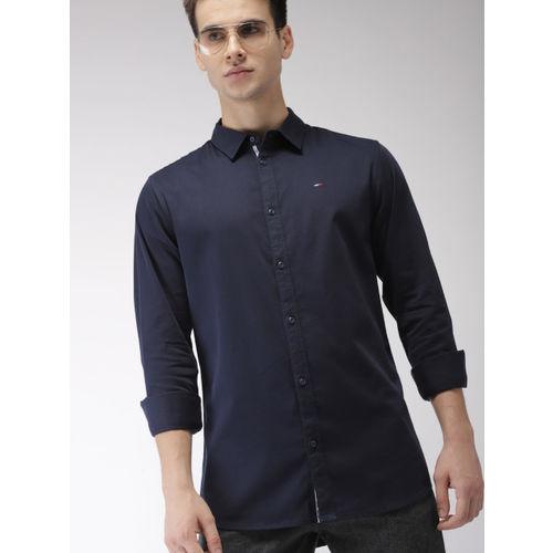 Buy Tommy Hilfiger Men Navy Slim Fit Solid Formal Shirt