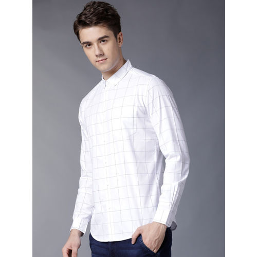 HIGHLANDER Men White & Blue Slim Fit Checked Casual Shirt