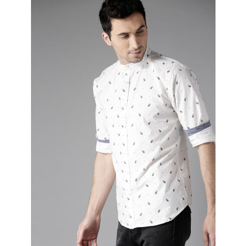 Moda Rapido Men White & Black Regular Fit Printed Casual Shirt