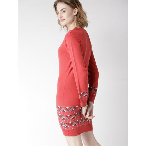 Mast & Harbour Women Coral Pink Solid Sweater Dress