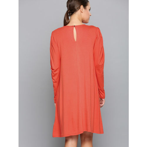 Chemistry Women Coral Solid A-Line Dress