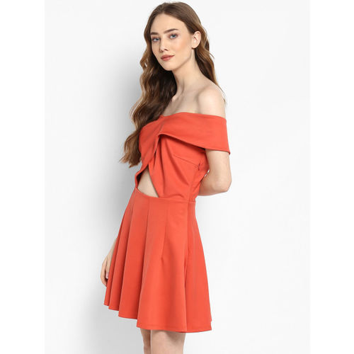 Kazo Women Orange Solid Fit and Flare Dress