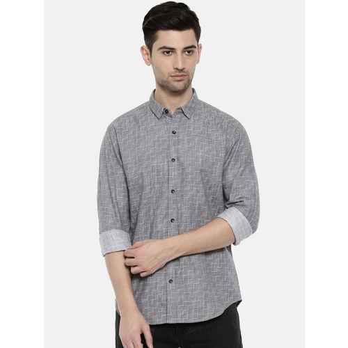 Breakbounce Men Grey Slim Fit Printed Casual Shirt