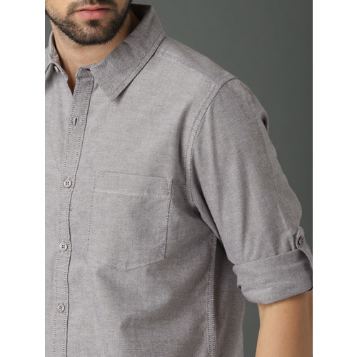 Roadster Men Grey Regular Fit Solid Casual Shirt