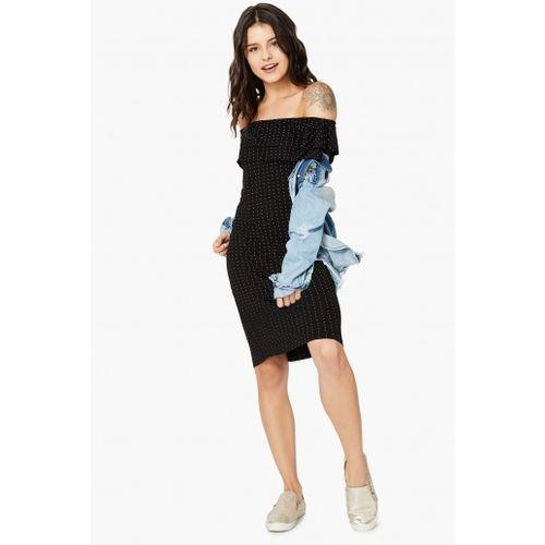 BOSSINI  Black Cotton Polka-Dot Print Off-Shoulder Shift Dress