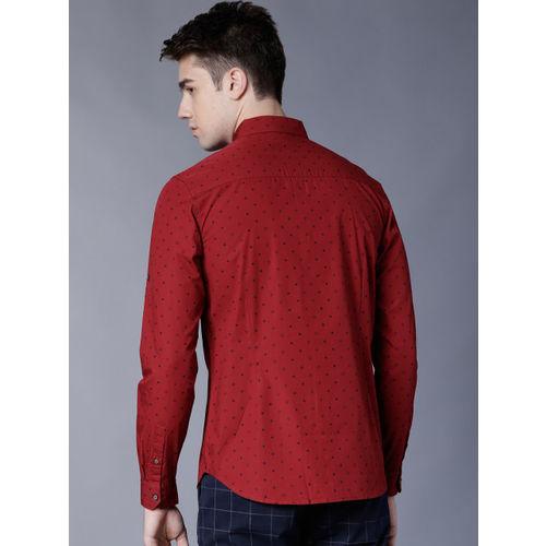 HIGHLANDER Men Red & Black Slim Fit Printed Casual Shirt